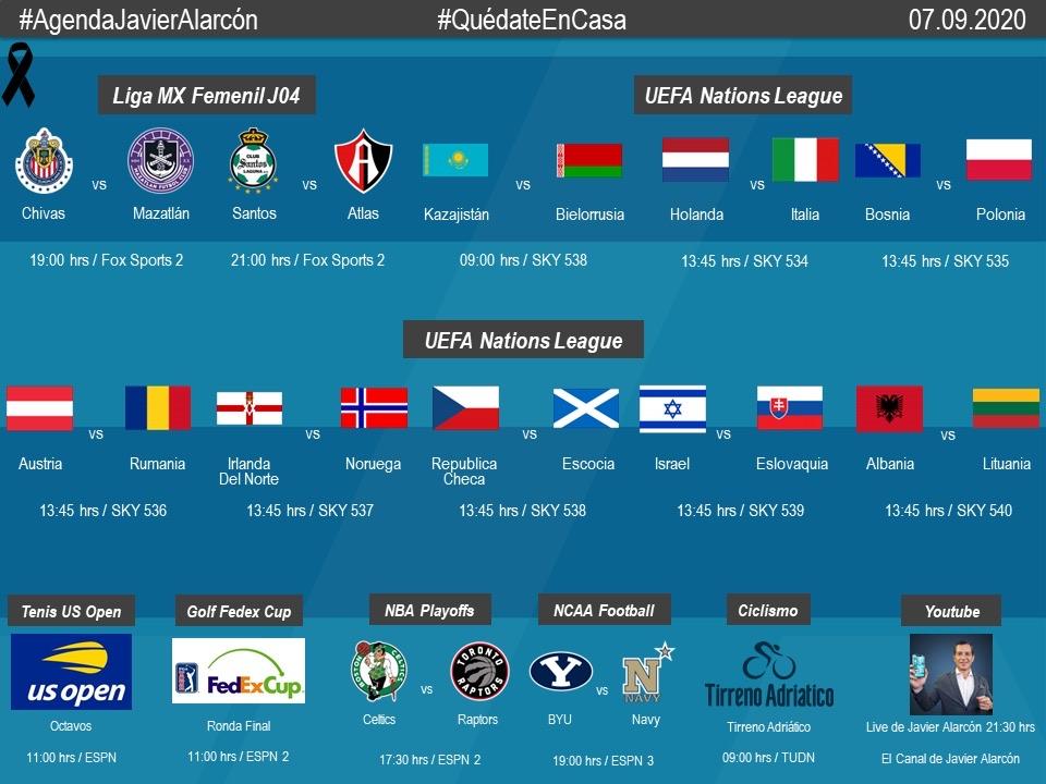 #AgendaJavierAlarcon | #LigaBBVAMXFemenil #NationsLeague #NBAPlayoffs #USOpen #FedExCup #TirrenoAdriatico #NCAAFootball https://t.co/P7nBAcUocc