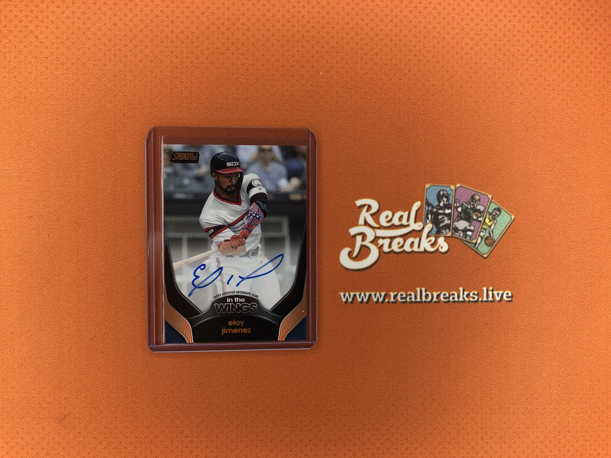 2020 Topps Stadium Club Eloy Jimenez Orange In the Wings Auto /5 . . . @Topps #realbreaks #boompoodle #whodoyoucollect #topps #toppsbaseball #toppsstadiumclub #stadiumclub #casebreak #groupbreak #mlb #baseball #baseballcards #eloyjimenez #whitesox #whitesoxbaseball https://t.co/WvjTvUxLIo