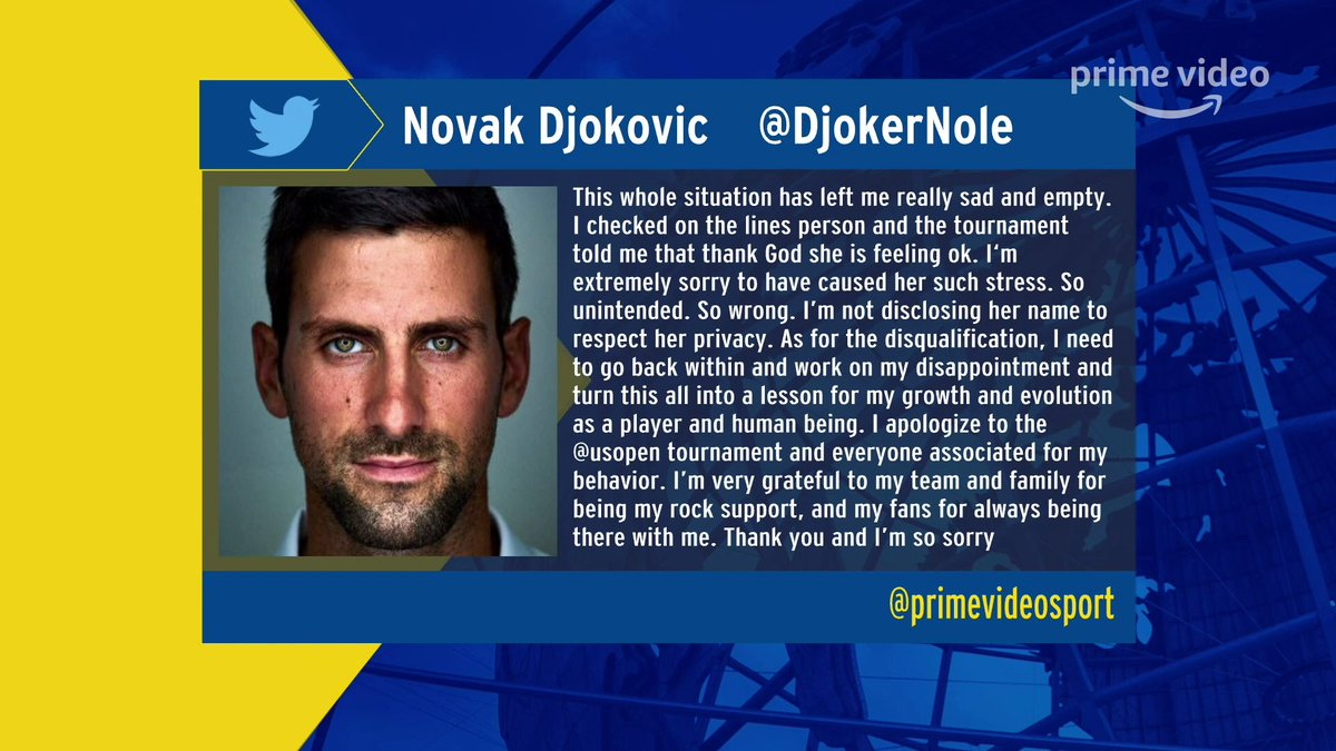Amazon Prime Video Sport On Twitter Novak Djokovic Has Released The Following Statement After Being Disqualified From The Usopen For Striking A Line Judge With The Ball Https T Co Lz6ivwezao