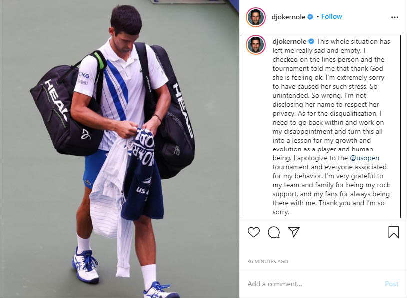 Thescore On Twitter Novak Djokovic Issued An Apology On Instagram After Hitting A Lineswoman With A Ball At The U S Open
