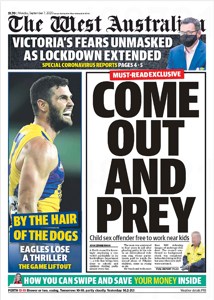 Come Out And Prey. Child sex offender free to work near kids ~ @joshua_zimm  #frontpagestoday #Australia #TheWestAustralian #buyapaper 🗞 https://t.co/2nHy4oKWua