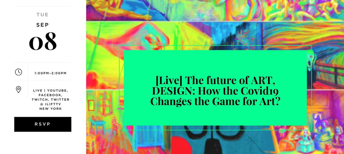 LIVE: Future of ART, DESIGN: How the Covid19 Changes the Game for Art? Time: Sep 8, 1:00 PM Eastern Time (US and Canada)  Subscribe https://t.co/hMoyGORj6V  #art #designideas #media #design #vc #investor #startup https://t.co/rGSIlE9BwB