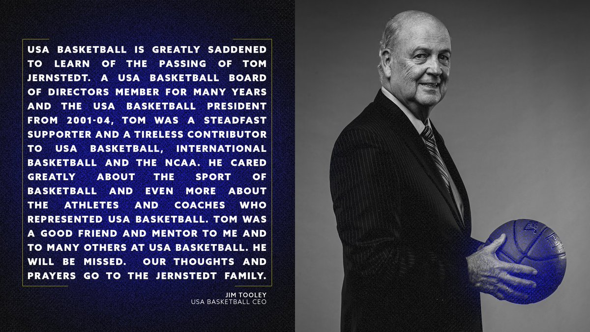 Statement from USA Basketball CEO Jim Tooley on the passing of former USA Basketball president Tom Jernstedt. We send our condolences to the Jernstedt family.