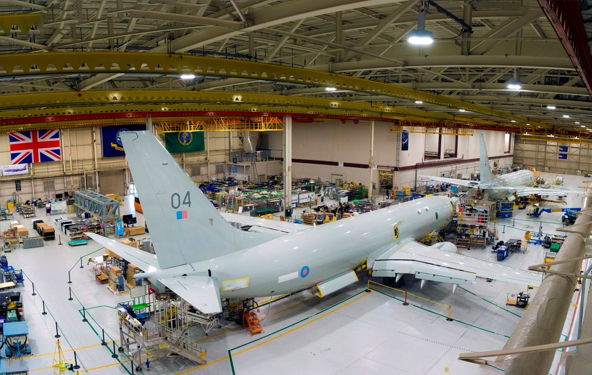 The next 2 @P8A_PoseidonRAF maritime patrol aircraft are in the final phases of production in Seattle. Once missions systems are installed they will be handed over to us and then flown to the UK #securingtheseas #NextGenRAF https://t.co/taSUzUXVIr