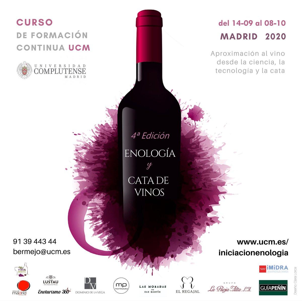 En una semana arrancamos el Curso de Enología y Cata de Vinos de @unicomplutense  Visitaremos 3 bodegas de @VinosdeMadridDO: @BodegaRegajal, @LasMoradasdeSM y Vinícola de Arganda Y Finca El Encín del @midra_i #UCM #vino #Formación https://t.co/qS7MMfQpl0