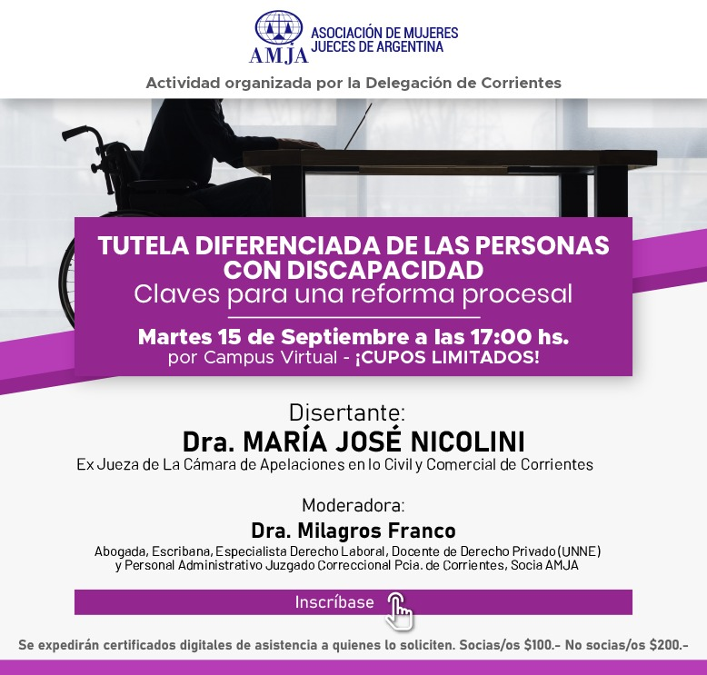 📌Nueva actividad en nuestro campus virtual! 📆15 de septiembre 17hs 📎Tutela Diferenciada de las personas con Discapacidad. Claves para una Reforma Procesal ¡CUPOS LIMITADOS! Inscripciones 👇 https://t.co/uhG7jbxlgE https://t.co/Mtwu9Fp80f