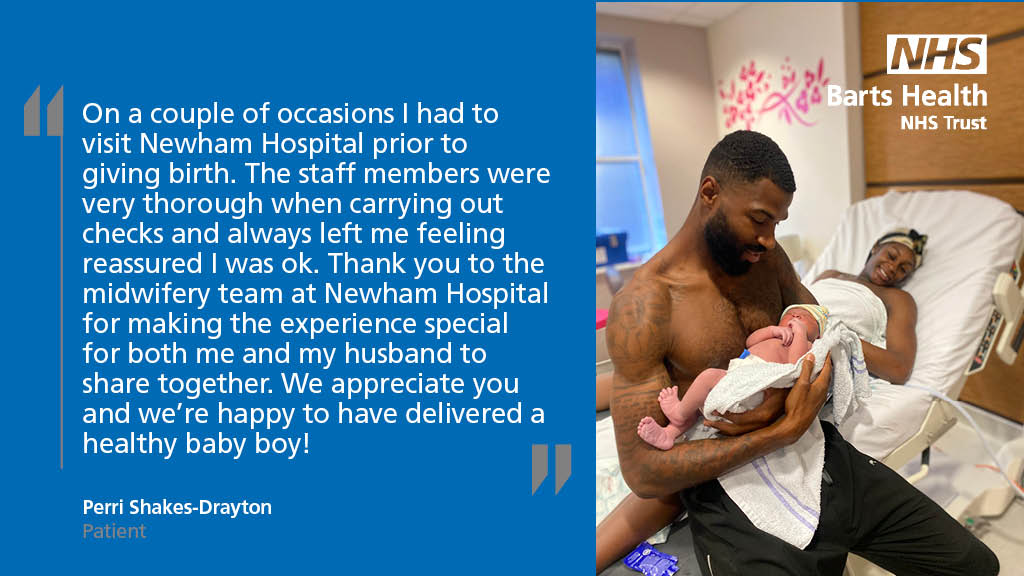 Congratulations to @shakesdrayton​ and @aireyys on the birth of their baby boy 😁  Here's what Perri had to say about the maternity care she received at @NewhamHospital 🏥 https://t.co/QL1Rvtwloc