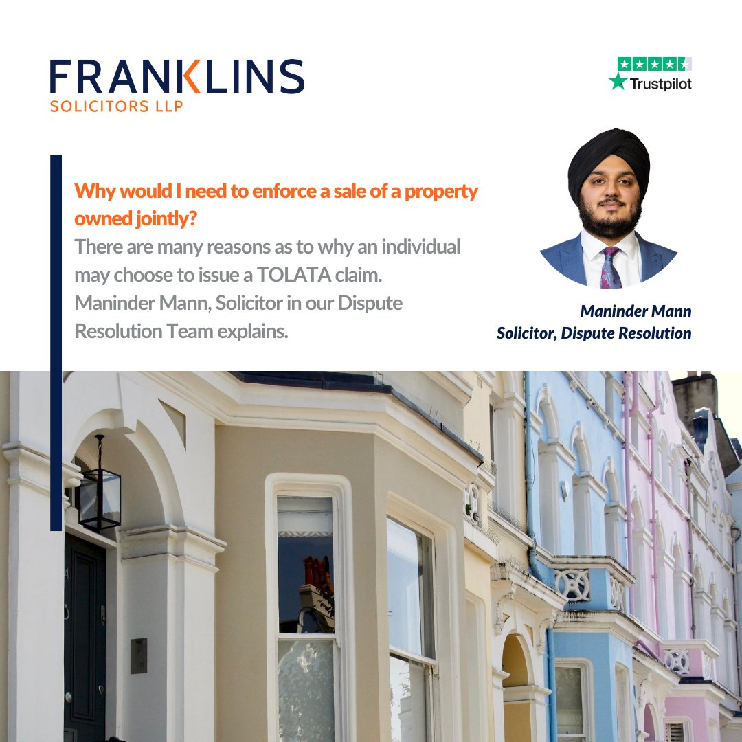 Enforcing a sale of a property owned jointly at Court is governed by the Trusts of Land and Appointment of Trustees Act 1996 (#TOLATA), but what happens if the co-owner refuses to cooperate? Maninder Mann, Solicitor in our Dispute Resolution Team explains: https://t.co/HUVV5e5H9E https://t.co/xPTf5Bz4LZ