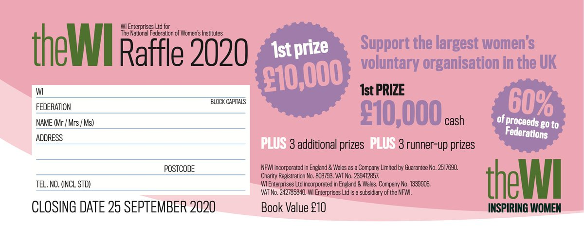 Dont forget by buying #WIRaffle2020 tickets, you can win fab prizes and 60% of proceeds go to federations Hurry, the raffle closes tomorrow!
