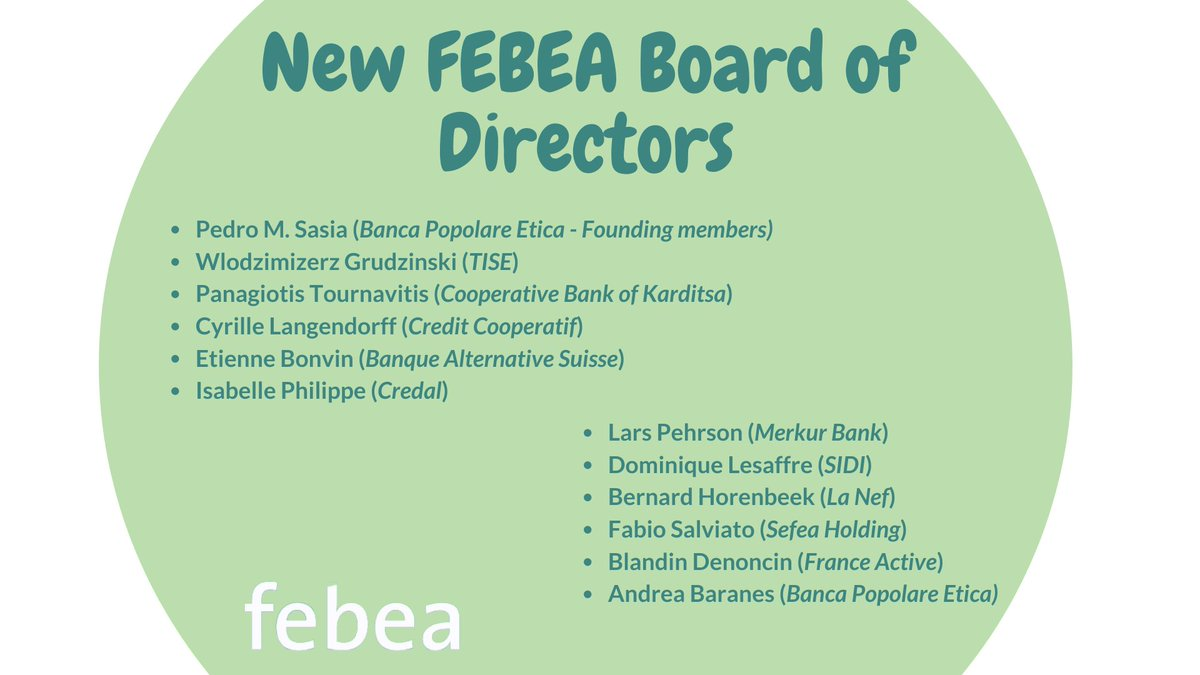 📌Last week the FEBEA Assembly elected the new Board of Directors: the 12 members will remain in charge for 3 years. The Board confirmed @perusasia as Chairman & W. Grudzinski as Vice-Chairman, and appointed @ptournavitis as new Treasurer #EthicalFinance 👉https://t.co/0j3n2N95s9 https://t.co/WT7XpN0gRm