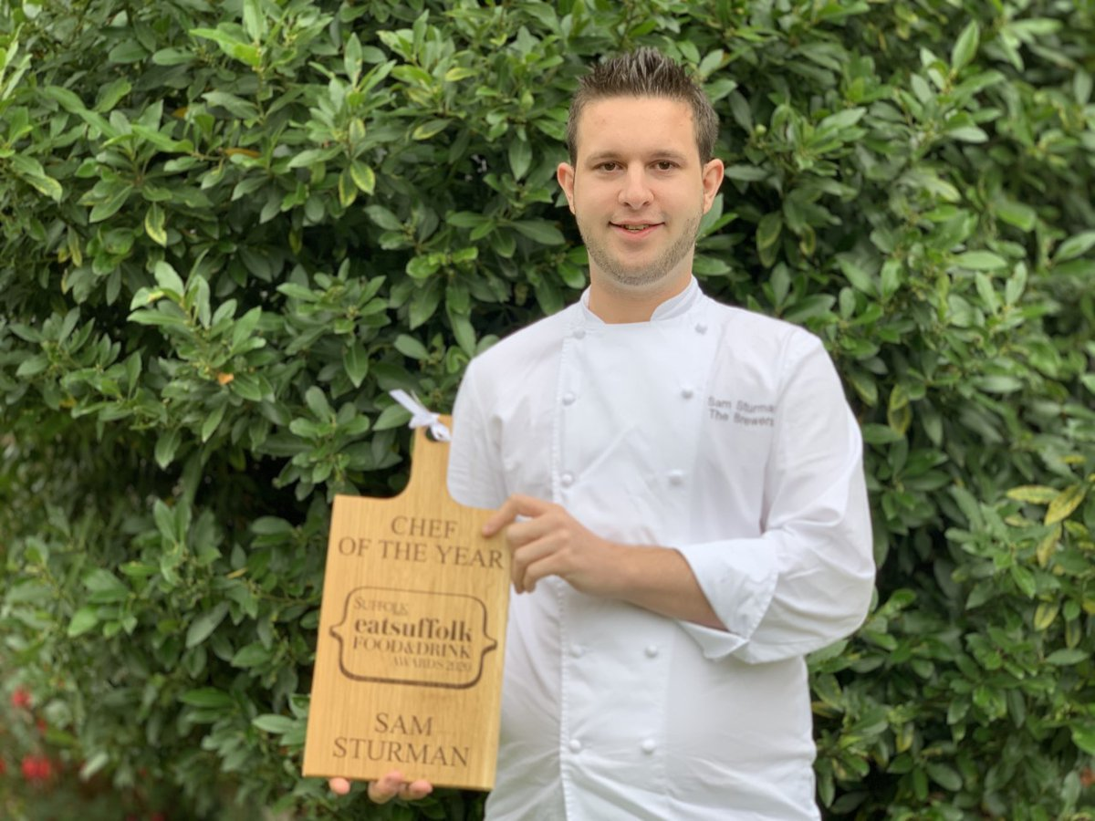 """Judges said of Sam Sturman's cooking: """"Stunning presentation and flavour.  """"The dessert looked amazing, showed lots of skill."""" @thebrewersp #SuffolkFADA #Suffolk #ChefoftheYear https://t.co/TX9i7t6kls"""