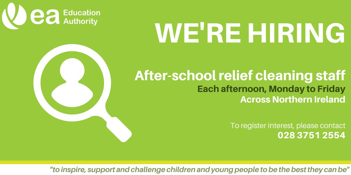 We are seeking after-school cleaning staff in: Newry, Warrenpoint, Kilkeel, Crossmaglen, Bessbrook, Cookstown, Dungannon, Armagh, Ballygawley, Portadown, Lurgan, Craigavon & Banbridge. To register interest, call 028 3751 2554. Phone line is open Mon- Fri, 8:30am-4:30pm. #EAJobs https://t.co/MxwTUZf5Ig