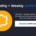 Image for the Tweet beginning: 220,000 $AXPR have been burned