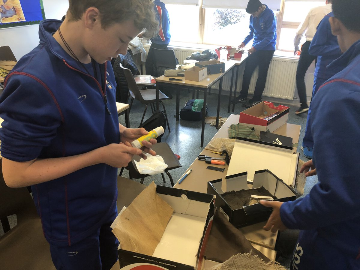 S3 pupils have been creating their own solutions for the requirements of trenches during WWI.  They will learn how effective their designs would have been, comparing them to the actual trenches. #shoeboxtrenches #WWI #achieve #flourish #creativity  @Hutchesons https://t.co/ryW7UzPYXu