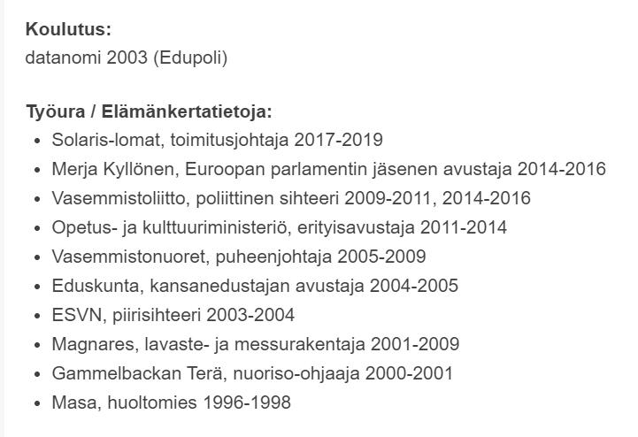 """.@vasemmisto nimittämässä Jussi Saramon opetusministeriksi. """"Ministerien on oltava rehellisiksi ja taitaviksi tunnettuja Suomen kansalaisia."""" (Jussi on blokannut, joten en voi pingata) 1/12 https://t.co/3Aml4AkW5z"""