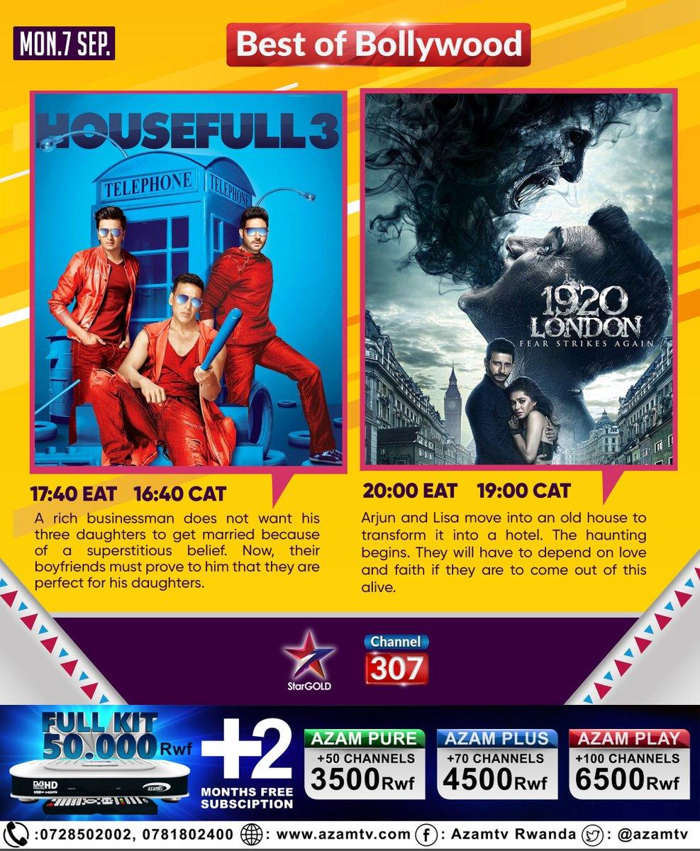 #Bollwood Movies today @StarGold Channel307  #HouseFull3   16:40 CAT #1920London 19:00 CAT https://t.co/cbkMXFuyE6