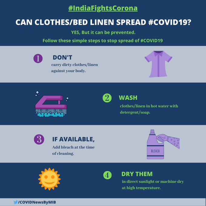 #IndiaFightsCorona:  📍Can clothes/bed linen spread #COVID19?  ➡️Yes, But it can be prevented.   Follow these simple steps to stop the spread of #COVIDー19.   #IndiaWillWin  #StaySafe https://t.co/OxkcQ9R7JJ