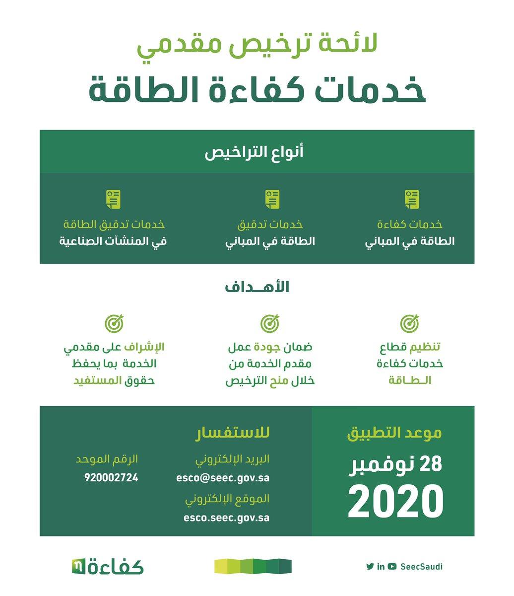 اصدر المركز لائحة ترخيص مقدمي خدمات #كفاءة_الطاقة ويبدأ تطبيق هذه اللائحة في 28 نوفمبر 2020 https://t.co/J1lWSoztQg