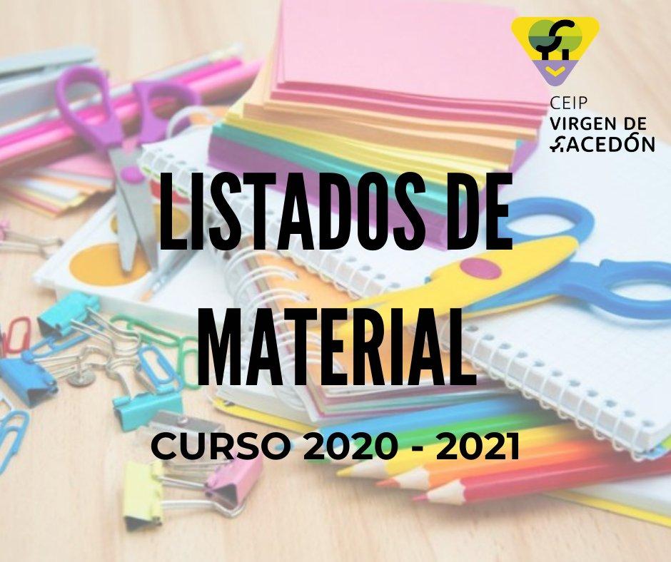 LISTADOS DE MATERIALES PARA EL CURSO 2020 - 2021 Estimadas familias: Ya están en la web del cole, los listados de materiales de primaria. Consúltalos aquí:  https://t.co/17oG2kTkxn @aytoPedrajasSE @ampamdelibes @CulturaPedrajas @FSPedrajas https://t.co/UkGvcwG8b8