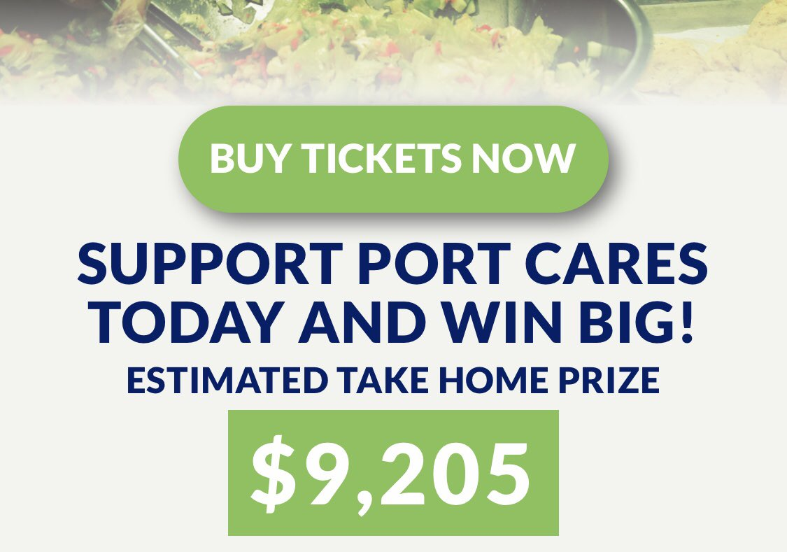 We're getting close to $10,000 for you to take home! Get your tickets now at https://t.co/tvLNytjt64 and help us to help those in need. Draw deadline is this Thursday! #CaringForPortCares #5050draw https://t.co/ItN36D6jrK
