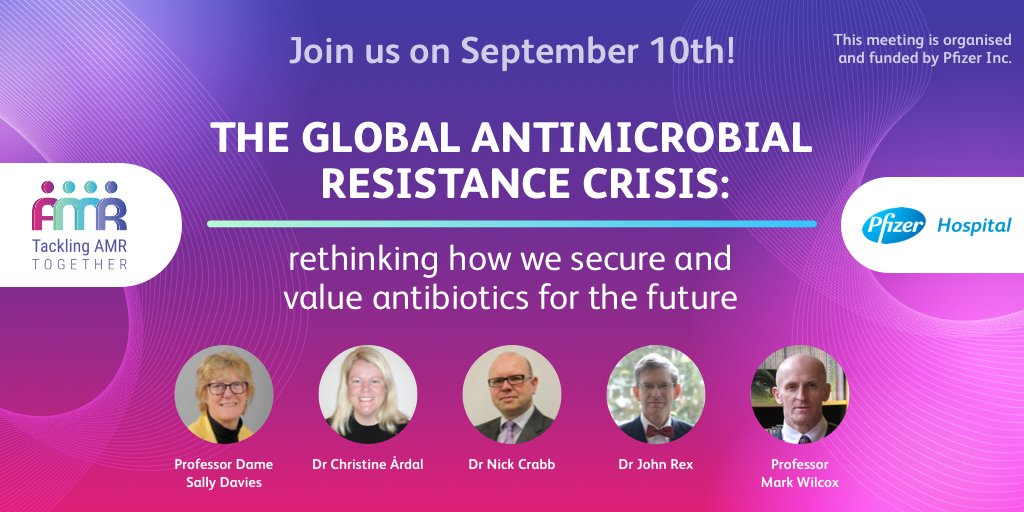 The global crisis in #AntiMicrobialResistance has not gone away and it's even more vital that we plan to secure and value #antibiotics for the future. Join us on Thursday to learn more. Details in the link ➡️ https://t.co/Z1UvP6y22j  @UKAMREnvoy @JohnRex_NewAbx https://t.co/zjVrrIxHEn