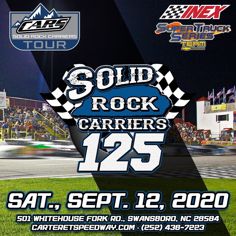 We are racing at @carteretcoswy THIS WEEKEND for third annual Solid Rock Carriers 125.  Start making plans to join us for this can't miss event on Saturday, September 12th.  Fans: ✔️   Racing starts at 7:15pm!  https://t.co/4aBhd5QOja https://t.co/yATAGR4LOx