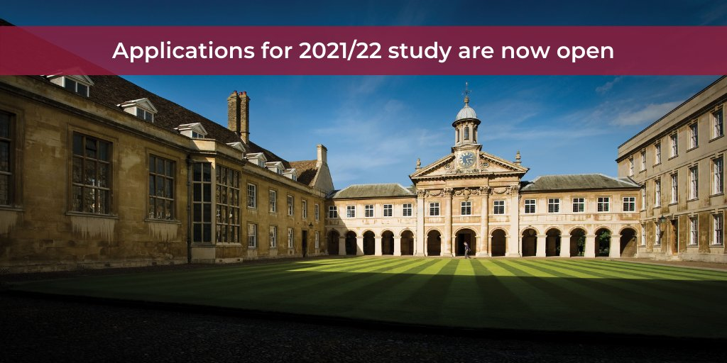 Looking to apply for postgraduate study? Apply today for study @Cambridge_Uni by visiting our website👉🏻 https://t.co/W4nAt4SwxE  We look forward to seeing you begin your journey with us in October 2021! 👩‍🎓👨‍🎓 #postgrad #cambridgeuniversity #cambridge #apply #masters #phd #study https://t.co/n36zRd6SxN