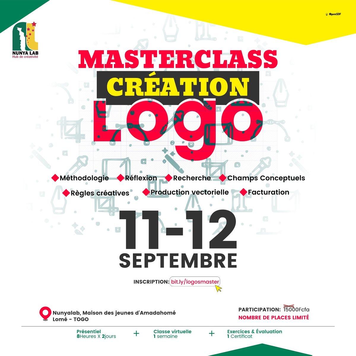 Le Logo est le premier élément d'une identité visuelle et l'expression d'une Marque. Comment le créer ? Participez à la MasterClass animée par @OpenSDF30 pour maîtriser les bases de la conception.  Inscrivez-vous via: https://t.co/7wuFzuiNEc  Coût: 15.000f  #masterclass #Logo https://t.co/RukL8ukjp2