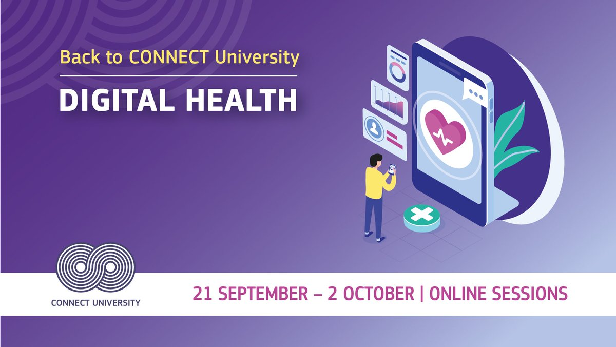 From 21/9 #ConnectUniversity opens its door for 11 free sessions addressing the digital transformation of #healthcare.  Let's discuss about the opportunities offered by #5G, #AI, #supercomputing & #BigData in receiving & providing #DigitalHealth services https://t.co/bCmNW6yTbQ https://t.co/sNQUE0cVHn
