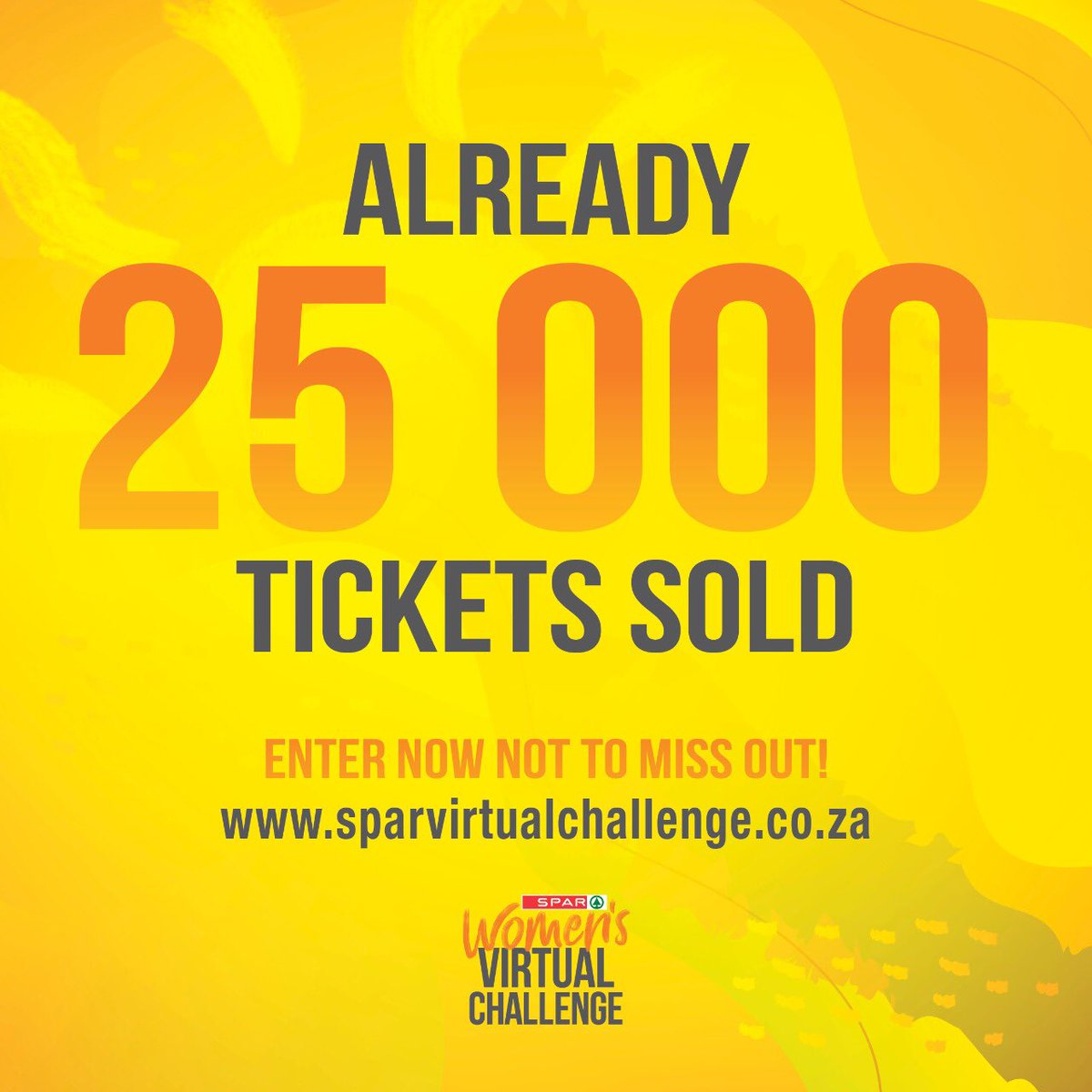 We have sold all 30 000 tickets!   Entries are now closed.  We look forward to sharing the sunshine with you on 26 September!   Remember to share your sunshine with us on the day by posting your virtual run on social media platforms using #BeSunshine & #SPARVirtualChallenge ☀️ https://t.co/6wDLc7m6CF