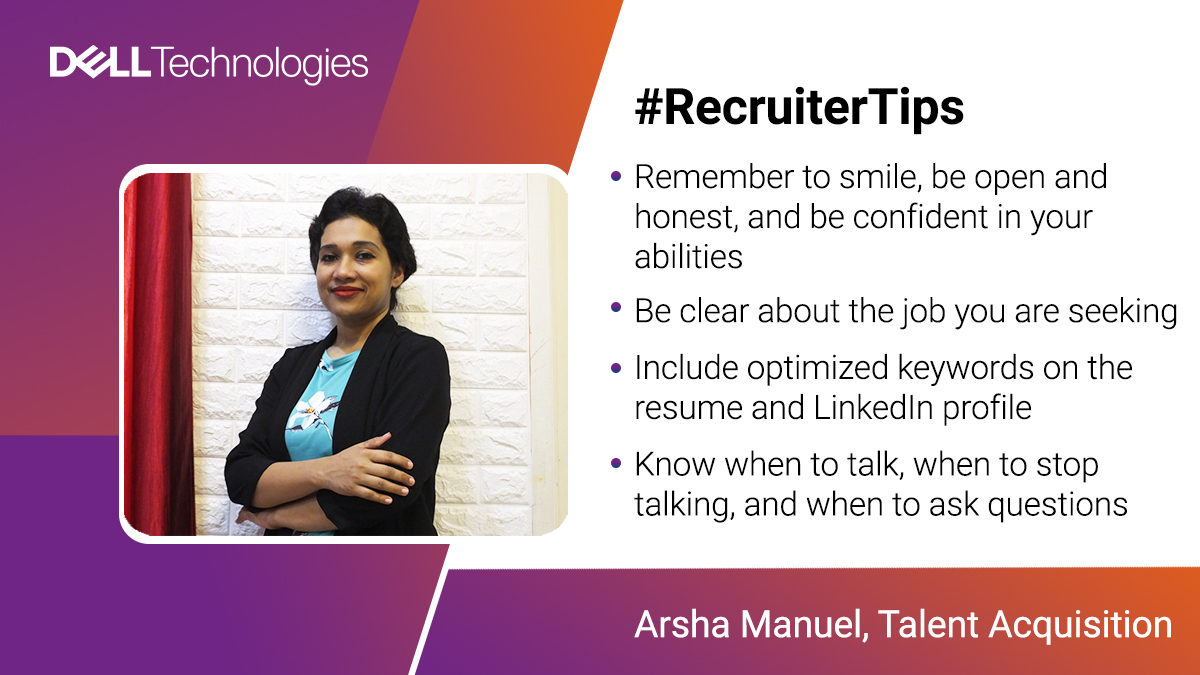 It is really important to play by your strengths in order to ace an interview. 💪 Arsha Maunel, recruiter at Dell Technologies shares some tips on how to create a lasting impression. ☺️  #RecruiterTips #LifeAtDell  To learn about jobs at Dell visit: https://t.co/o6vCsJdF1b https://t.co/9sITJBNVJ5