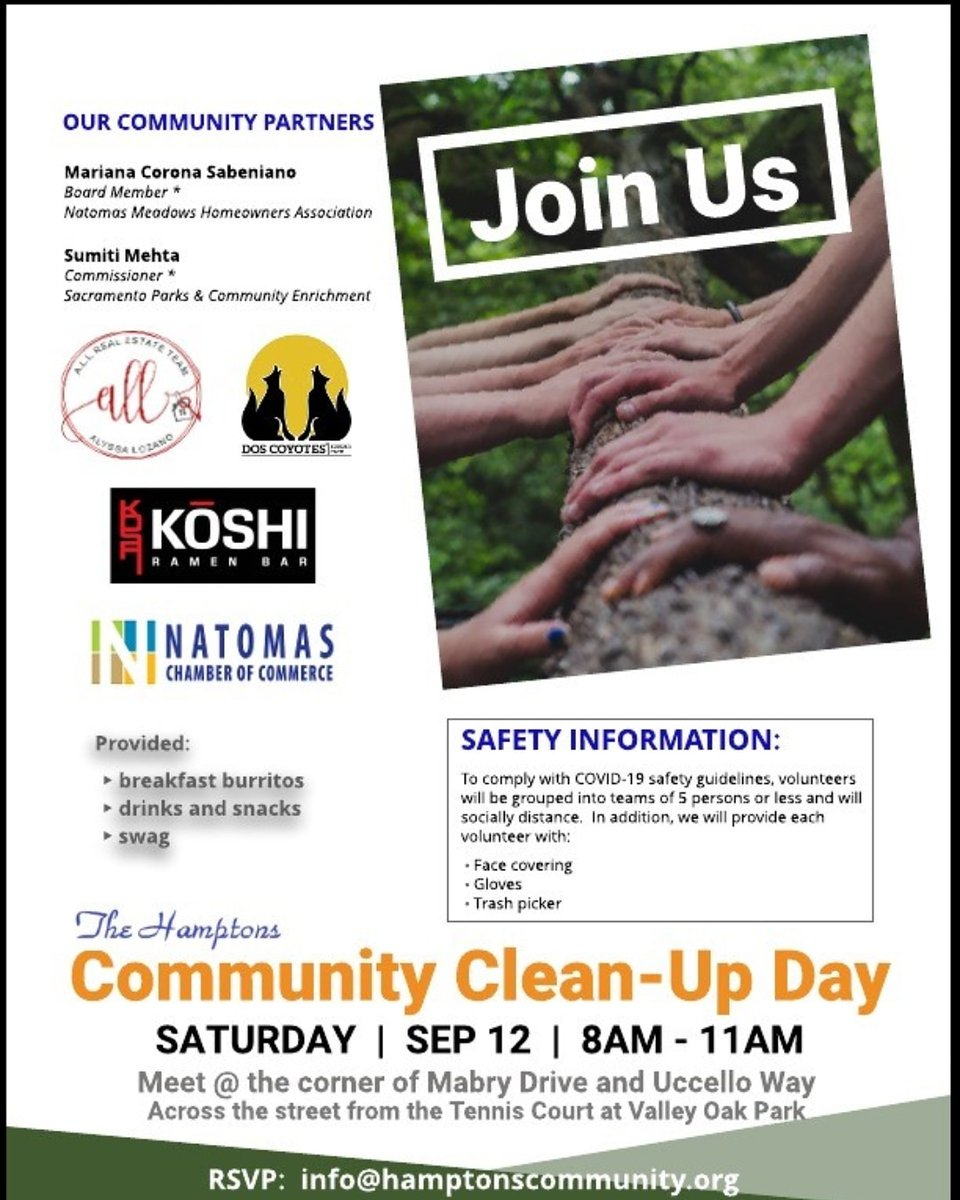 COMMUNITY CLEAN UP DAY  Join our community partners on Saturday, September 12 beginning at 8AM to 11AM at corner of Mabry Drive and Uccello Way, Sacramento.   PROVIDED: *Breakfast burritos  *Drinks and snacks and more  Rsvp: info@hamptonscommunity.org https://t.co/chD3eh7iCj