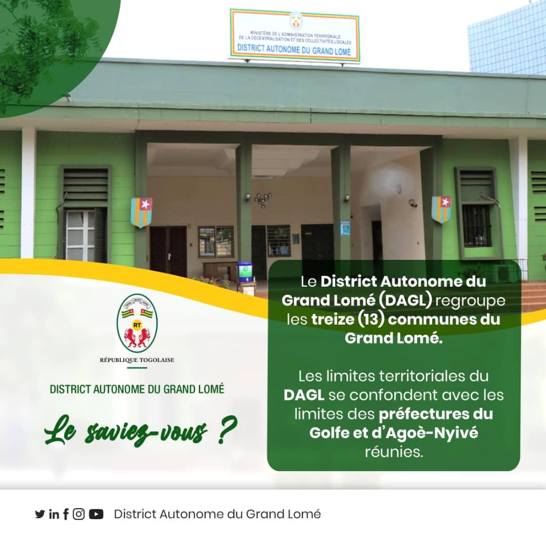 #LE_SAVIEZ_VOUS ?  Le District Autonome du Grand Lomé (#DAGL) regroupe les treize (13) communes du Grand Lomé.   Les limites territoriales du #DAGL se confondent avec les limites des préfectures du #Golfe et #d'Agoè-Nyivé réunies. https://t.co/CRNmtllyzw