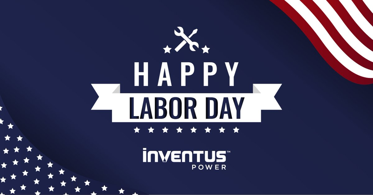Today we take a moment to recognize all the dedication and accomplishments of our employees. In honor of the U.S. celebration of Labor Day, we want to send a big THANK YOU to our Inventus Power team. Wishing everyone a safe and Happy #LaborDay! https://t.co/cfDvsdsXV4
