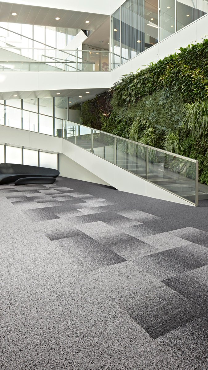 #Circulardesign is the future!  The idea behind these #carpettiles: using #ECONYL® made from 100% regenerated material and recycled chalk from Dutch drinking water companies. The EcoBase® backing contains > 75% C2C positively defined #recycled content.   https://t.co/UtJ4m09GAS https://t.co/ZxaD5Xcix7
