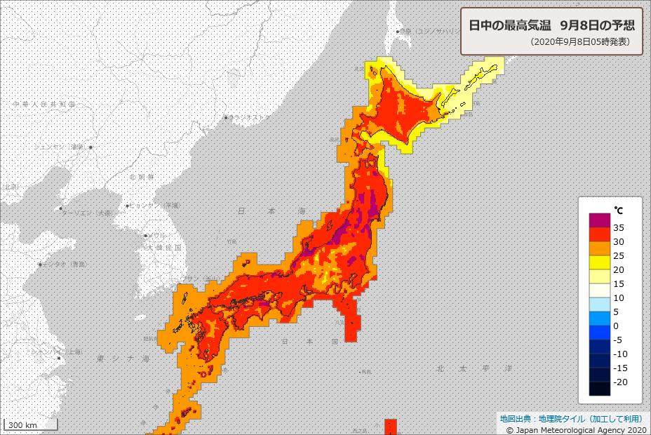 暑くなります. 今日8日の最高気温は富山37℃,長岡・高田・山形・伏木・豊岡36℃,盛岡・横手・新庄・米沢・仙台・福島・若松・新潟・金沢・福井・京都・奈良・鳥取・岡山・高松35℃の猛暑日となり,青森・秋田・熊谷・大阪34℃,東京都心・札幌33℃と広く真夏日予報.適切な暑さ対策をしましょう.