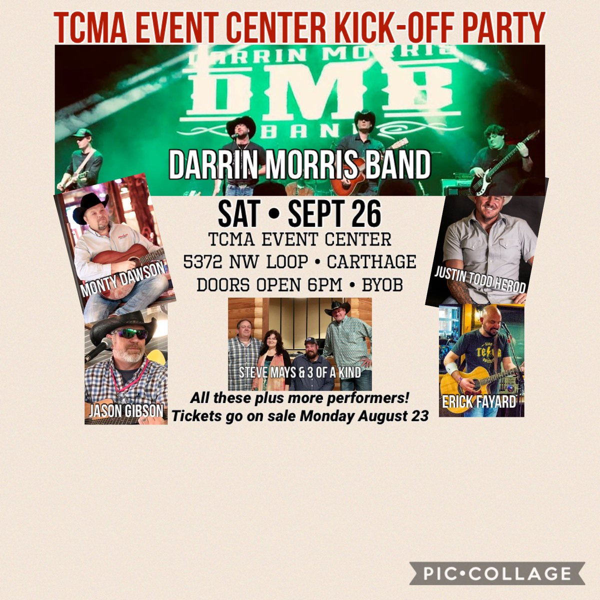 Tickets at texascountrymusic.org!