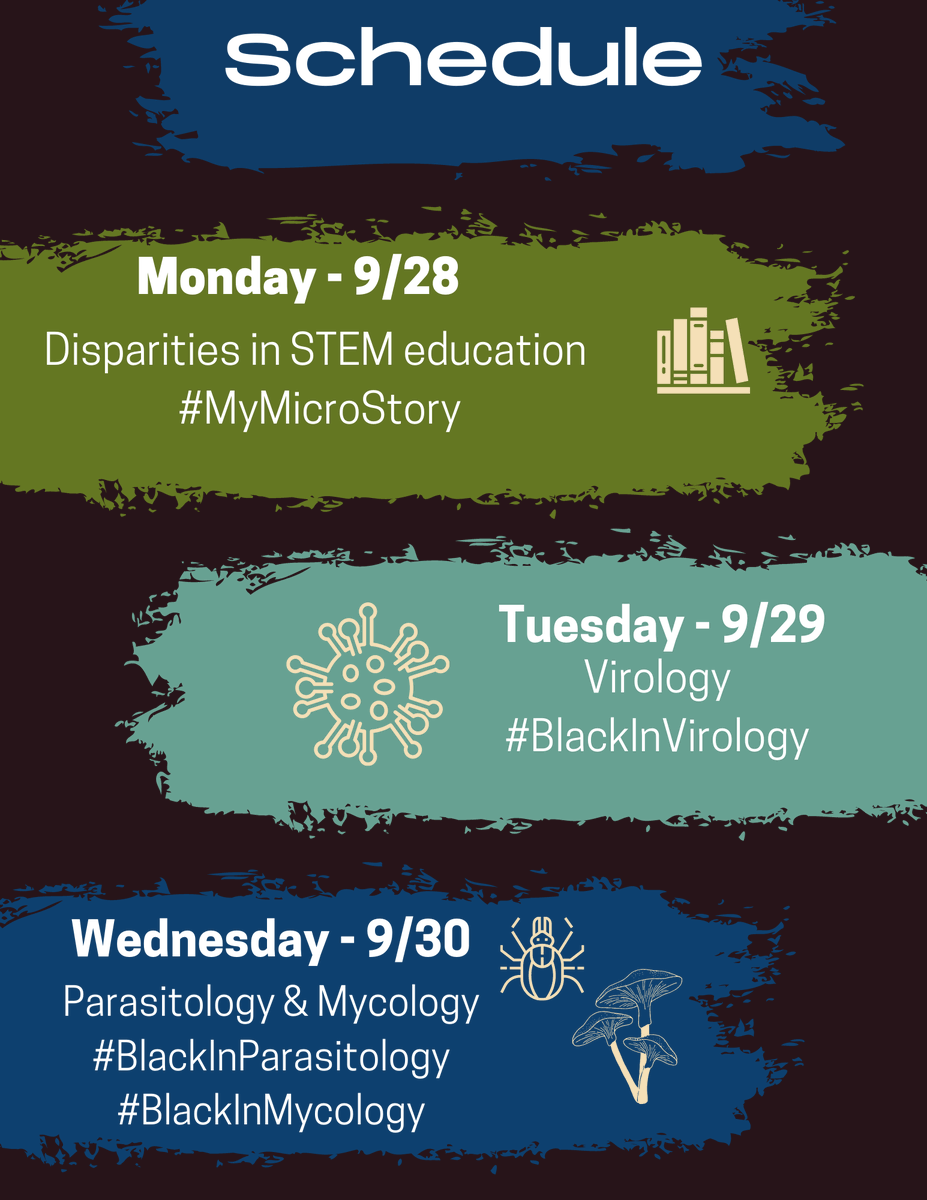 Each day during #BlackInMicro we have a central theme. Themes to look out for are: Disparities in STEM Education, Virology, Parasitology, Bacteriology, Mycology,  and Microbiomes. https://t.co/gvyuTu7pvd