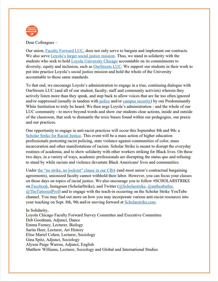 ***Please see the below statement from the Loyola Non-Tenure Track Faculty Union, Faculty Forward Loyola***  #LoyolaForUs #LoyolaChicago #CalledAsOne https://t.co/SPaqv0eCw0