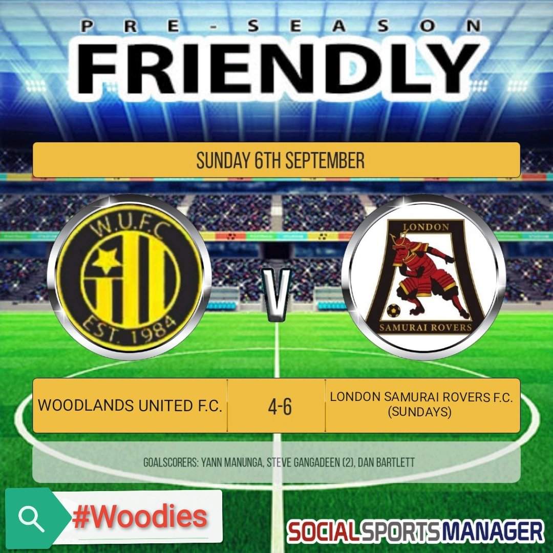 Our final pre-season fixture ended in a 6-4 loss to @LondonSundays The game was evenly contested for the most part, but poor defending at the end of the 2nd half saw Samurai stretch their lead & despite a late Woodies comeback it wasn't to be.  Good luck for the season!  #Woodies https://t.co/f6NKMfFfKg
