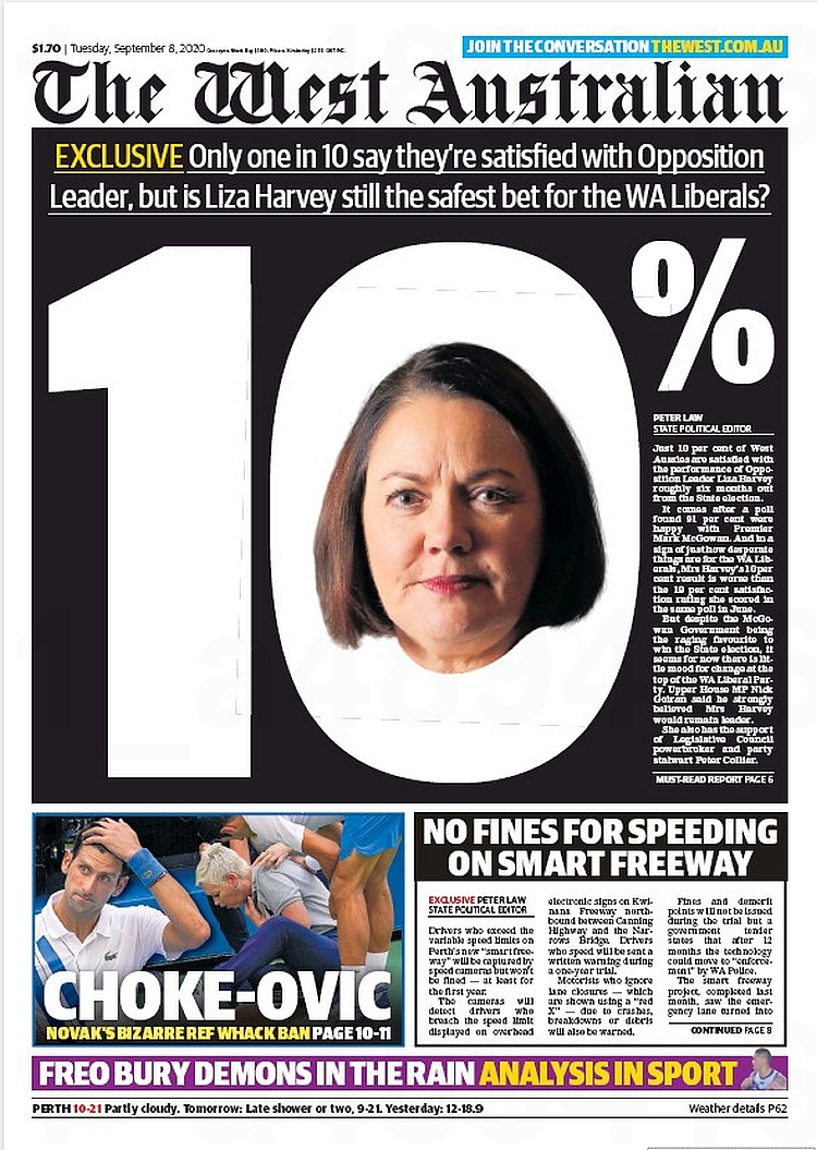 10% Exclusive: Only one in 10 say they're satisfied with Opposition Leader, but is Liz Harvey still the safest bet for the WA Liberals? ~ @PeterJohnLaw   #frontpagestoday #Australia #TheWestAustralian #buyapaper 🗞 https://t.co/9qVHb37Fx2