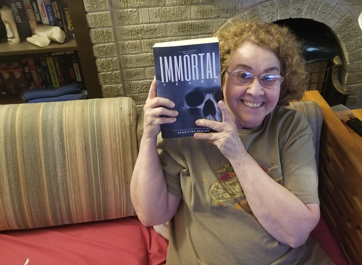 Mom got her copy today...she started with my story first...Bwhahahaa   #deathiscoming #ThePantheon #tfteotw #Thanatos #WritingCommunity @InThePantheon @RewrittenRealms #anthology #ImmortalFears #RewrittenRealms https://t.co/E6jpu4qRij