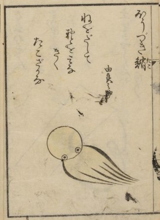 江戸時代に描かれたタコが微妙にかわいい。