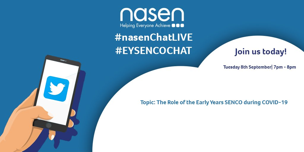 Join us today for the final entry in our #EYSENCOCHAT series! We'll be discussing the role of the #Early #Years #SENCO during #COVID-19. #nasenChatLIVE https://t.co/4NQ5giFK8N