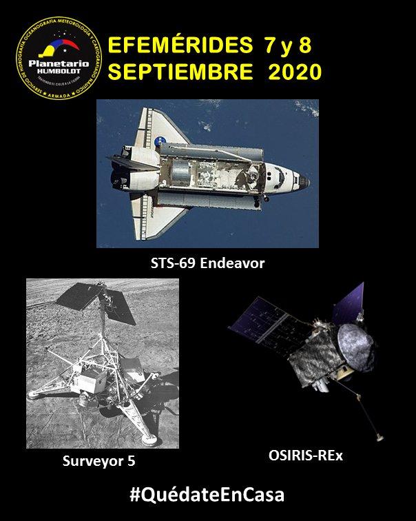 7/sep/1995: Es lanzada la misión SRS-69 del Transbordador Espacial #Endeavor. 8/sep/1967: Se lanza la sonda #Surveyor5 de la #NASA a la #Luna. 8/sep/2016: La sonda OSIRIS-REx de la NASA es lanzada al #asteroide 101955 Bennu para recolectar muestras y traerlas a la #Tierra. https://t.co/0QE9NU8O9n