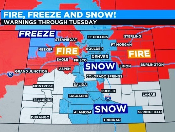 Welcome to Colorful Colorado - the land of Ice ❄️ & Fire 🔥  🥵🥶😅  #grrmartin #coloradolife #colorado #2020bingocard #asongoficeandfire #snow #fires #thankyoufirefighters❤️ #youknownothingjonsnow #climatechangeisreal #frak2020 https://t.co/fBgA6a66zw https://t.co/KOipctADtb