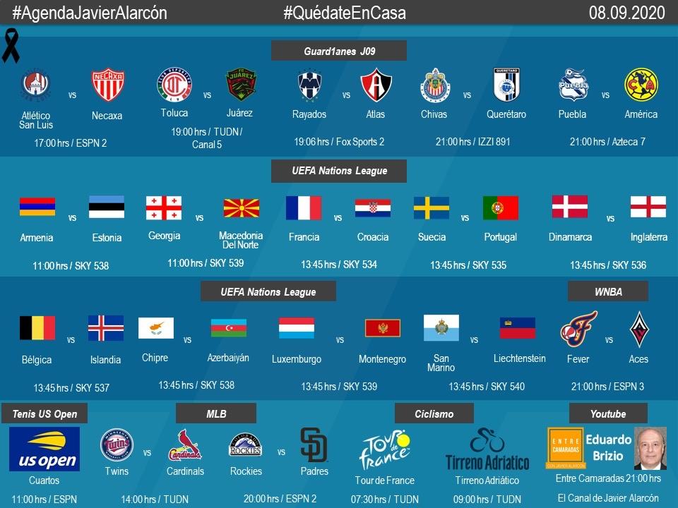 #AgendaJavierAlarcon | #LigaBBVAMX #NationsLeague #WNBA #MLB #USOpen #TDF2020 #TirrenoAdriatico #EntreCamaradas https://t.co/61UTbAIDW0