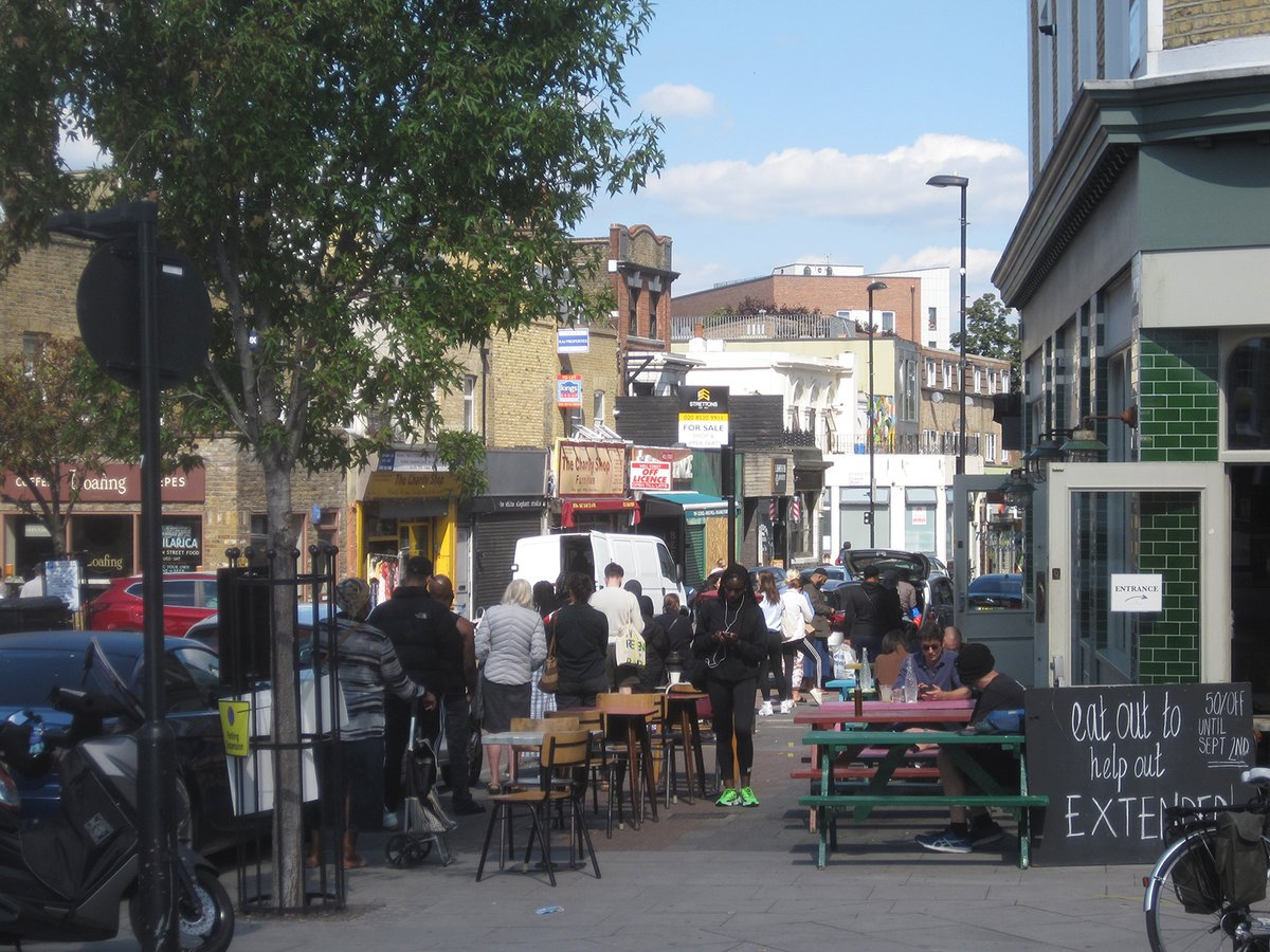 Social distancing is difficult on Well Street, Hackney.