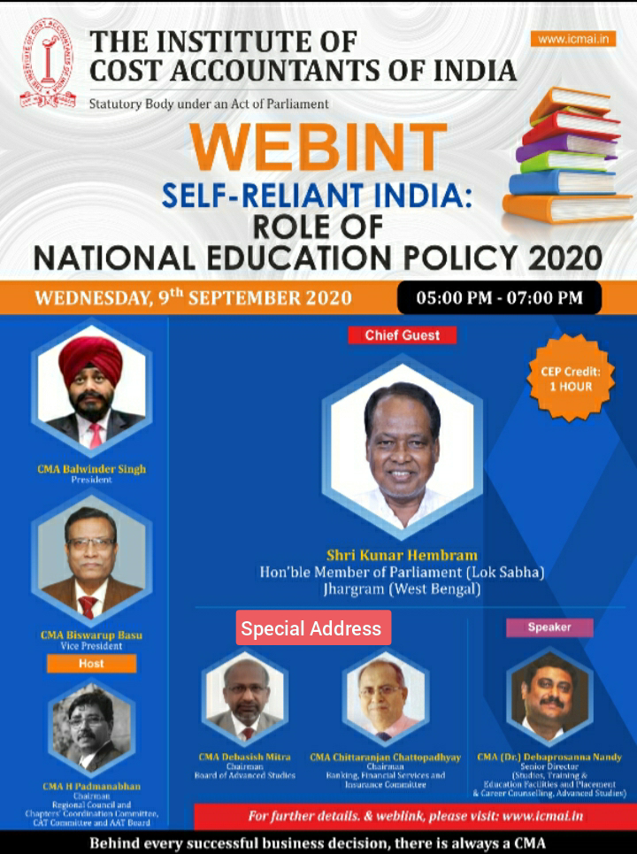 Join the WEBINT to be addressed by Shri Kunar Hembram, Hon'ble Member of Parliament (Lok Sabha), Jhargram (West Bengal) on Wednesday, 9th September 2020 from 5 pm to 7 pm. WEBLINK: https://t.co/vTN1agNLVl https://t.co/H4UHKqQDrH