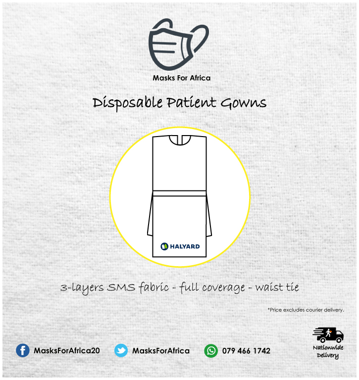 SPECIAL: Halyard Patient Examination Gowns - R19-00 each Blue Halyard Patient Gowns @ R19-00 incl. per unit (100 units per box). Universal size. Offering 3-layer SMS fabric, sleeveless, full length.  #MasksForAfrica #halyard #patientcare #patientsfirst #patientgown #gowns #PPE https://t.co/FL21Ayf7XY